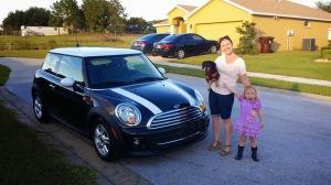 Me, my mini niece, my mini dachshund, and my MINI Cooper