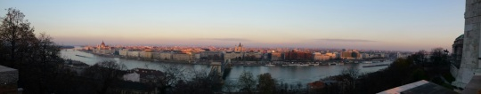 The magnificent city of Pest as seen from Buda's Castle at sunset
