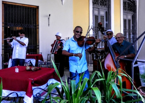 Musicians at a restaurant in Havana's Plaza Vieja