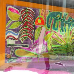 Window art (you can see me and Phin in the reflection!)